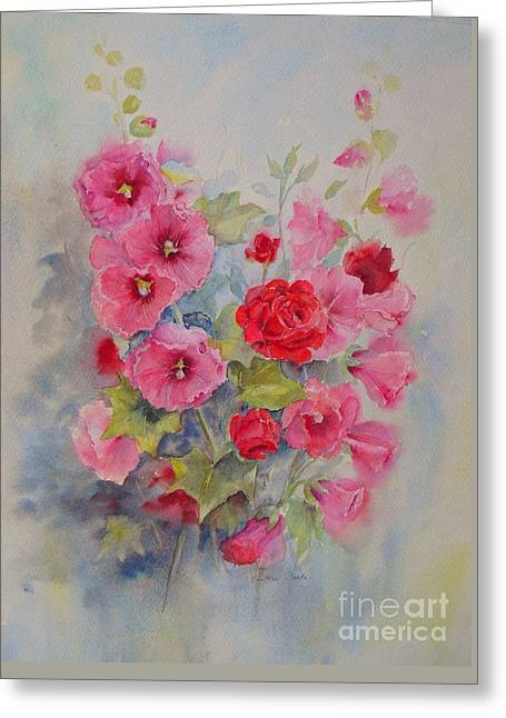 Greeting Card featuring the painting Hollyhocks And Red Roses by Beatrice Cloake