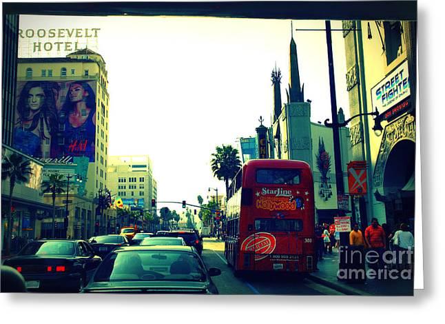 Hollywood Boulevard In La Greeting Card by Susanne Van Hulst