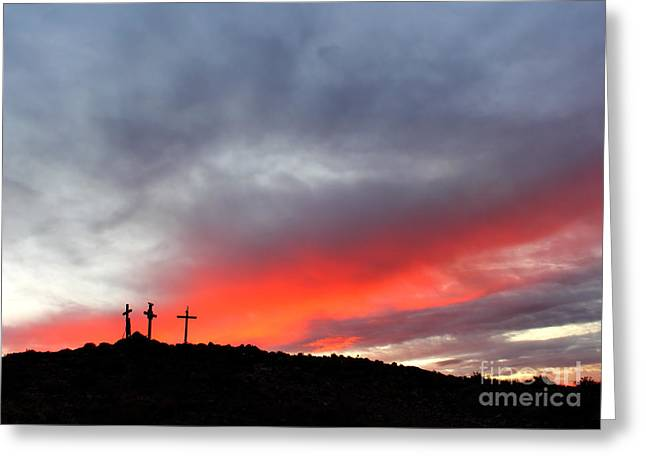 Holy Dawn Greeting Card by Val Armstrong