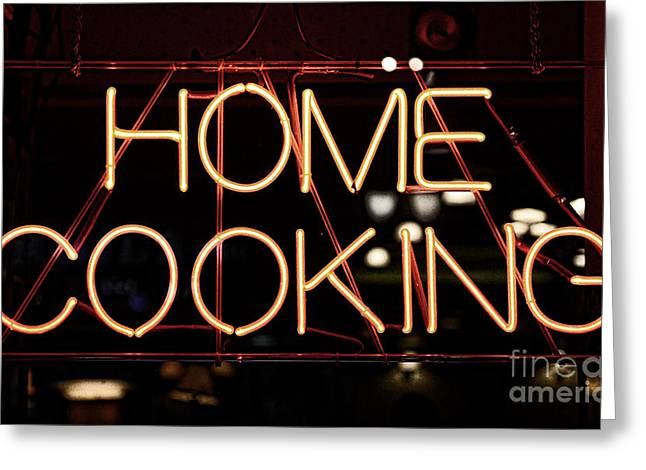 Home Cooking Neon Greeting Card by Paul Ward