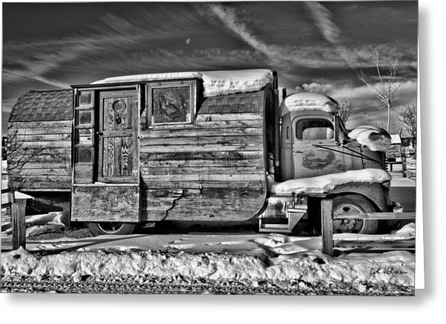 Home On Wheels - Bw Greeting Card by Christopher Holmes