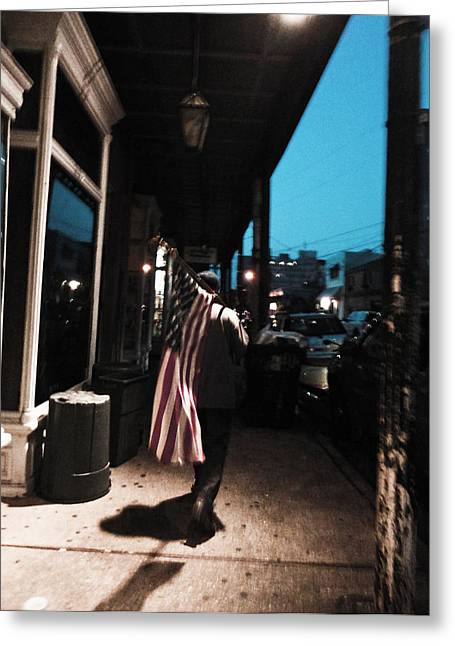 Homeless Man Carrying American Flag In New Orleans Greeting Card