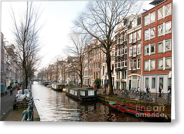 Homes Along The Canal In Amsterdam Greeting Card by Carol Ailles