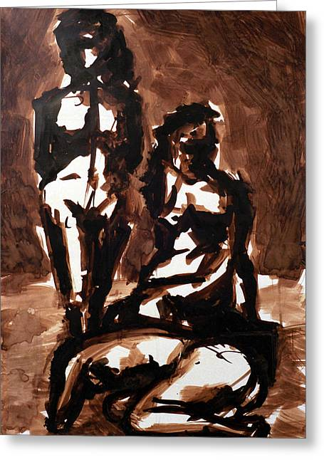 Homotrace #27. Three Figures Greeting Card by Alfredo Gonzalez
