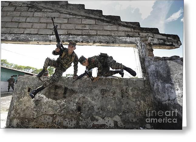 Honduran Army Soldiers Perform Building Greeting Card by Stocktrek Images