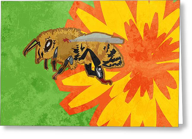 Honey Bee Greeting Card by Mary Ogle