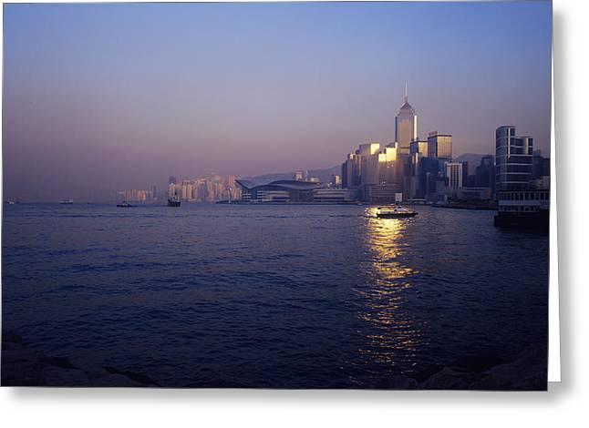 Hong Kong Harbour Greeting Card by Carlos Dominguez