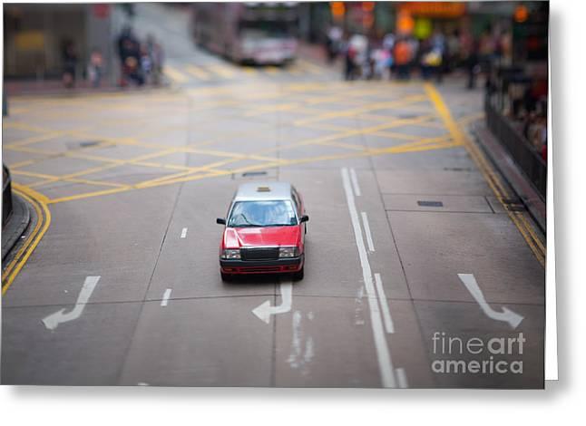 Hong Kong Taxicab Greeting Card by Ei Katsumata