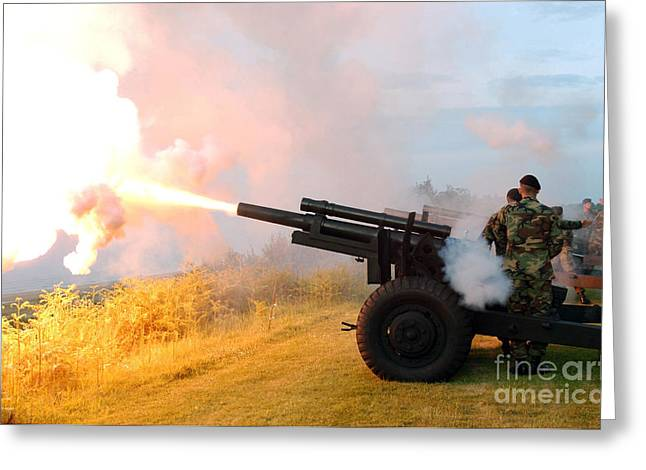 Honor Guard Members Fire A 105 Mm Greeting Card by Stocktrek Images