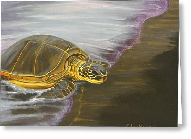 Honu On Black Sand Beach Greeting Card by Elaine Haakenson
