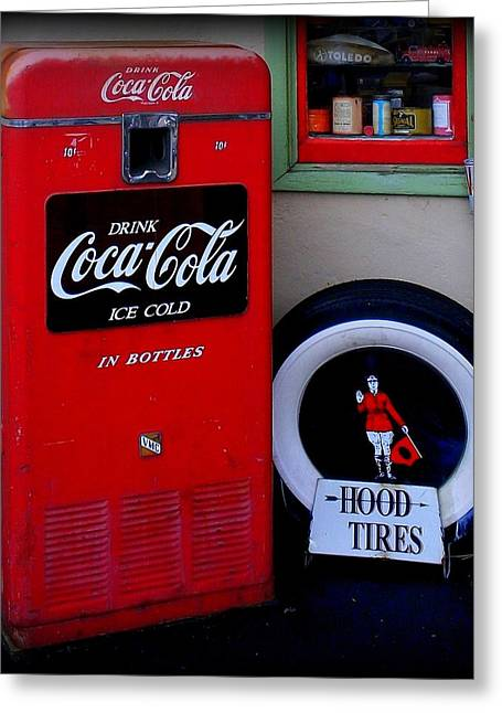 Hood Tires Cocacola Greeting Card by Randall Weidner
