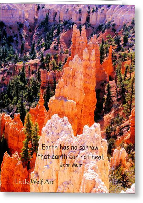 Hoodoos Of Farieland Canyon With John Muir Quote Greeting Card