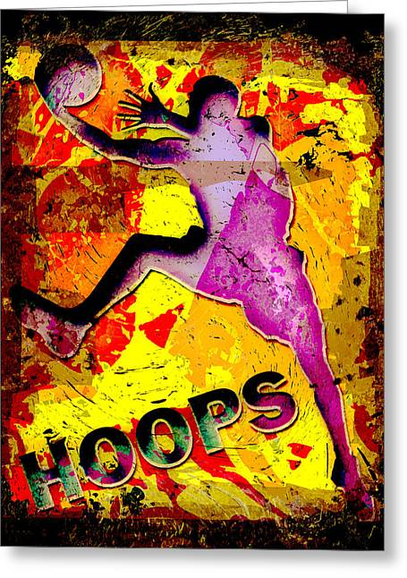 Hoops Basketball Player Abstract Greeting Card