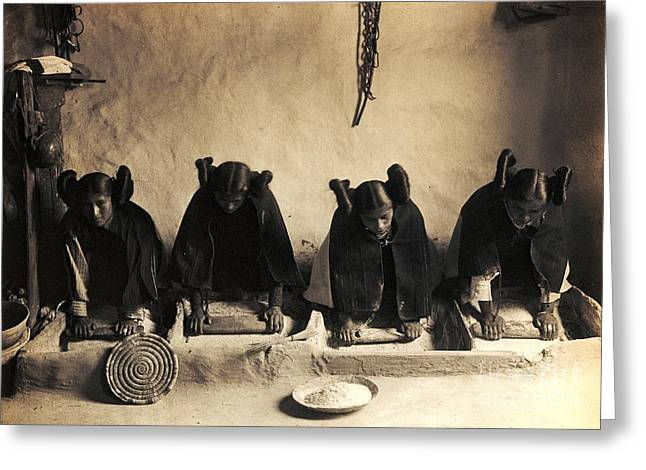 Hopi Girls Grinding Corn Greeting Card by Pg Reproductions