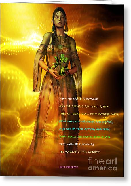 Greeting Card featuring the digital art Hopi Prophecy by Shadowlea Is