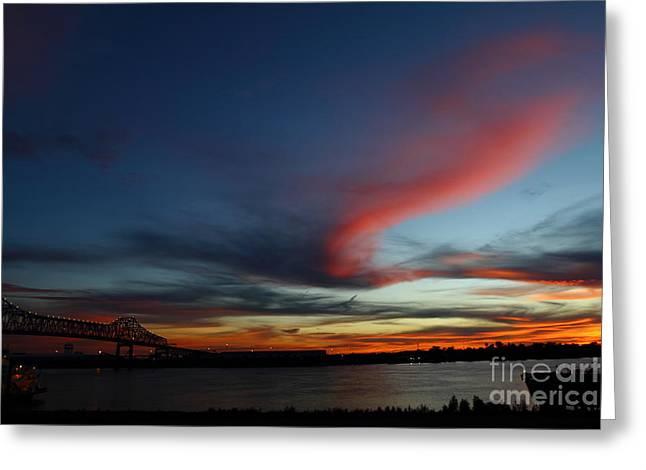 Horace Winkinson Bridge At Sundown Greeting Card by Linda Alexander