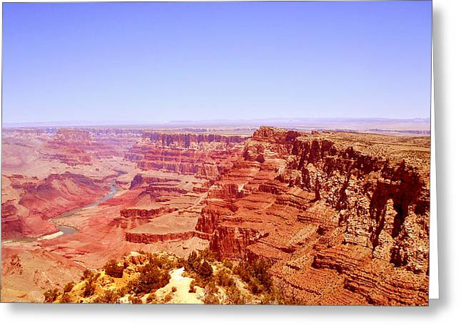 Greeting Card featuring the photograph horizon in Grand Canyon by Rima Biswas