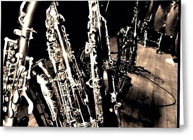 Horns #horns #housemusic #jazz #music Greeting Card