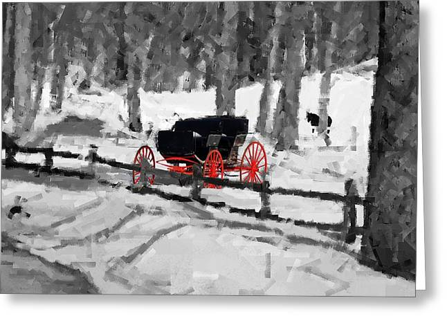 Greeting Card featuring the photograph Horse And Buggy - No Work Today - Abstract by Janice Adomeit