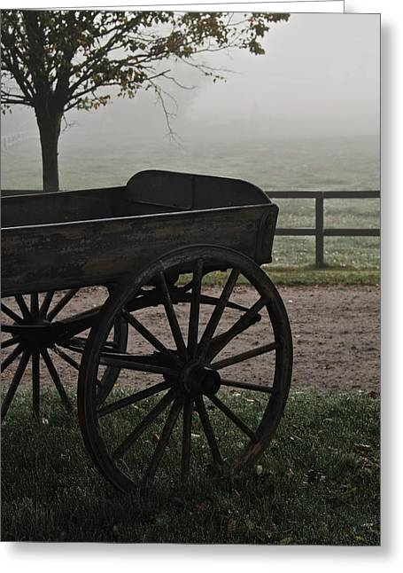 Horse Drawn In The Mist Greeting Card by Odd Jeppesen