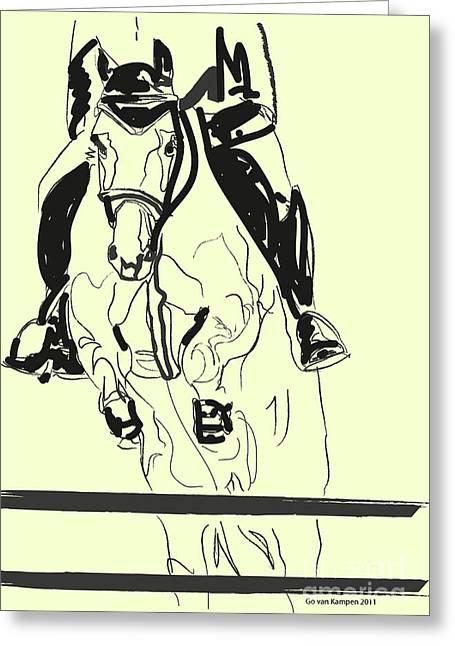 Horse-jumping Greeting Card by Go Van Kampen