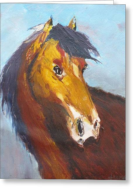Horse - Knife Painting Greeting Card by Rejeena Niaz