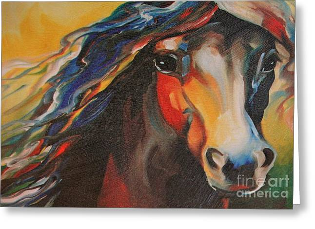 Horse Painting Greeting Card by Pamela Walrath