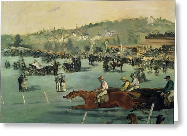 Horse Racing Greeting Card by Edouard Manet