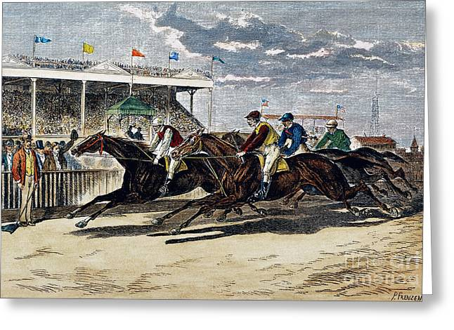 Horse Racing, Ny, 1879 Greeting Card by Granger