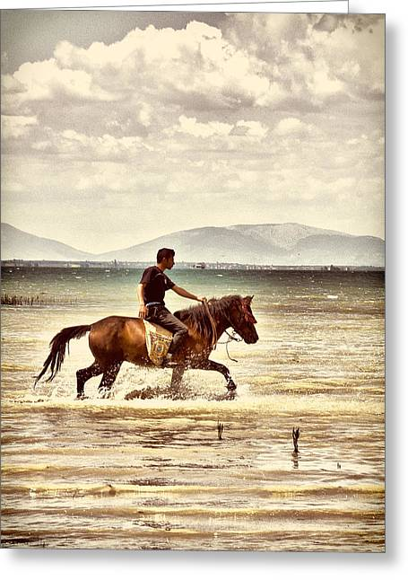 Greeting Card featuring the photograph Horse Riding by Okan YILMAZ