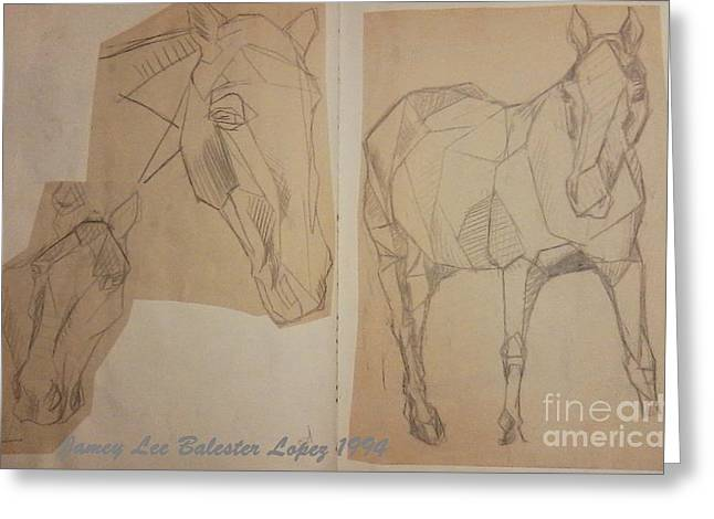 Horse Study Sketchbook Greeting Card by Jamey Balester