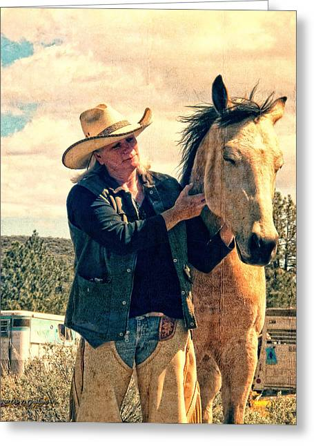 Horse Whisperer Greeting Card by Rhonda Strickland