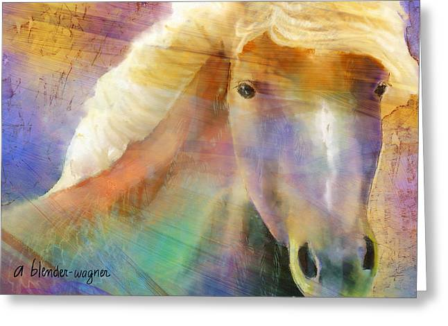 Horse With The Golden Mane Greeting Card by Arline Wagner