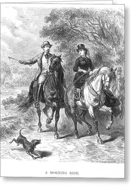 Horseback Riding, C1875 Greeting Card