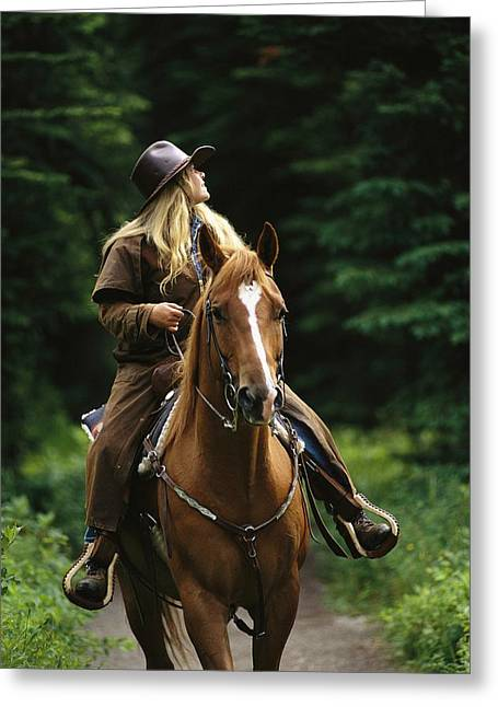 Horseback Riding In Yoho National Park Greeting Card by Michael Melford