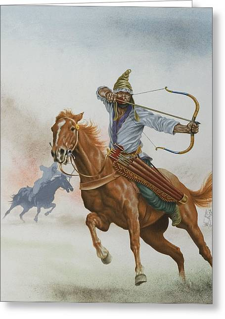 Horsemen From The Steppes Greeting Card by English School