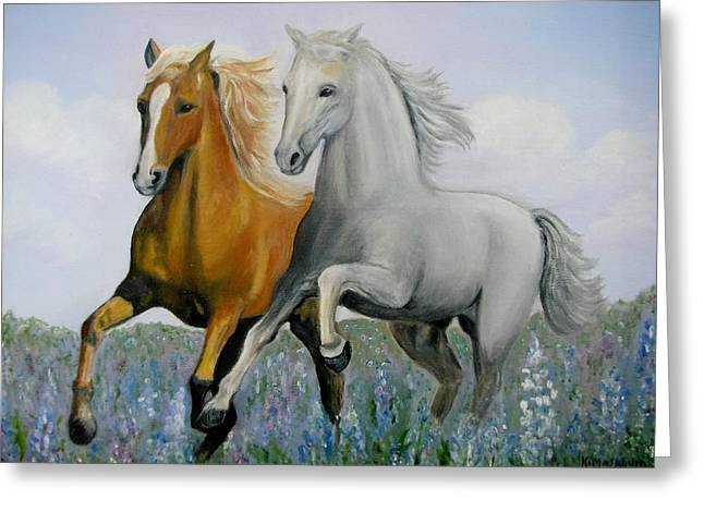 Horses And Bluebonnets Greeting Card by Kay Mashburn