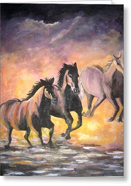 Horses Greeting Card by Usha Rai