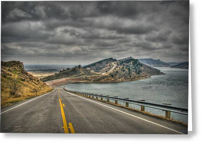 Horsetooth Reservoir Stormy Skies Hdr Greeting Card by Aaron Burrows