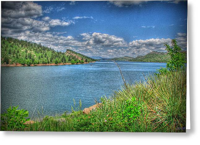 Horsetooth Reservoir Summer Hdr Greeting Card by Aaron Burrows