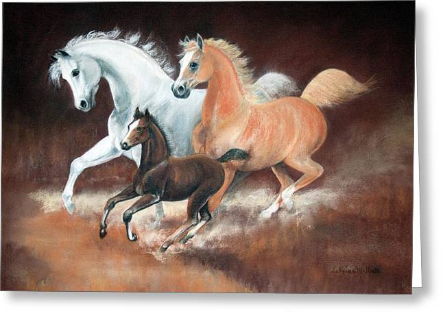 Horsin' Around Greeting Card by Rose McIlrath