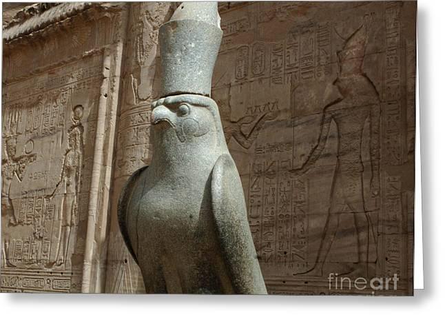 Horus The Falcon At Edfu Greeting Card by Bob Christopher