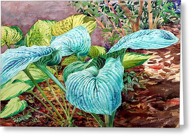 Hosta Greeting Card by Peter Sit
