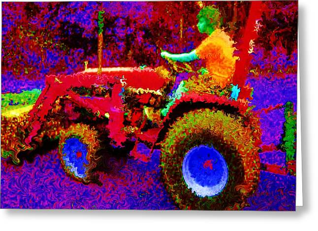 Greeting Card featuring the photograph Hot Afternoon On A John Deere Tractor by George Pedro