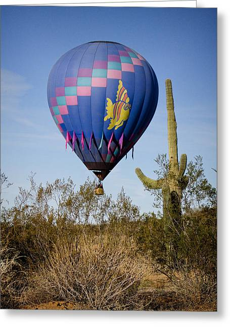 Hot Air Balloon Flight Over The Lush Arizona Desert Greeting Card by James BO  Insogna