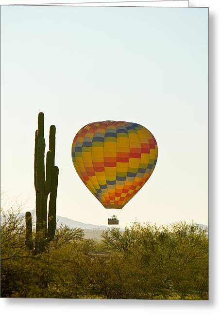 Hot Air Balloon In The Arizona Desert With Giant Saguaro Cactus Greeting Card