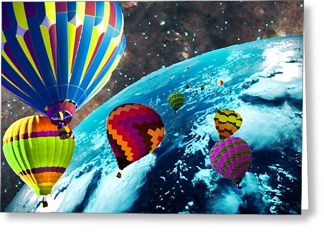 Hot Air Balloon Space Race Greeting Card by Michael Ambrose