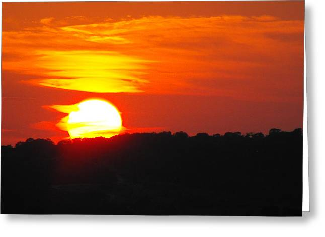Hot August Sunset In Texas Greeting Card by Rebecca Cearley