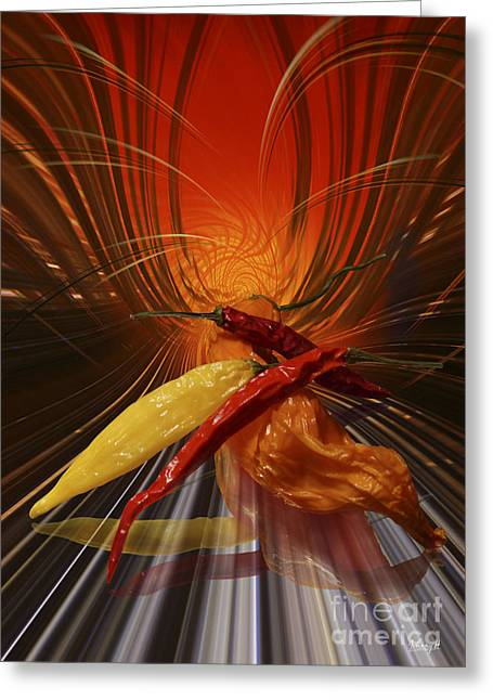 Greeting Card featuring the digital art Hot Chilli by Johnny Hildingsson
