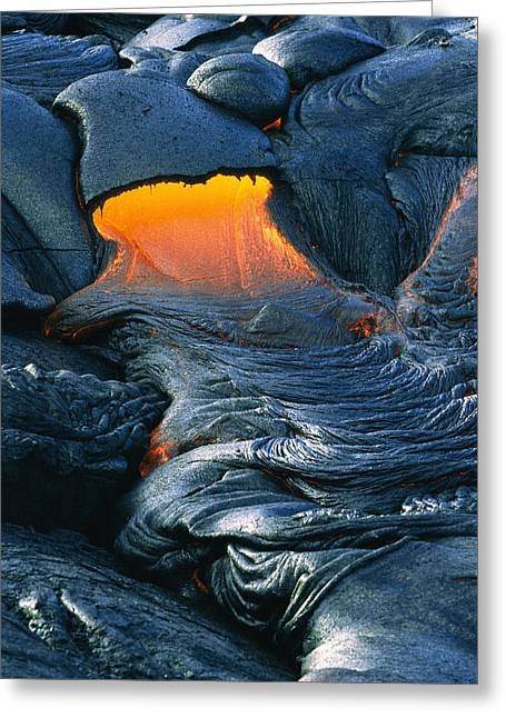 Hot Lava Flows From A Volcano Greeting Card by Marc Moritsch